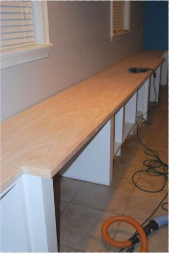 DIY oak plywood counter tops.