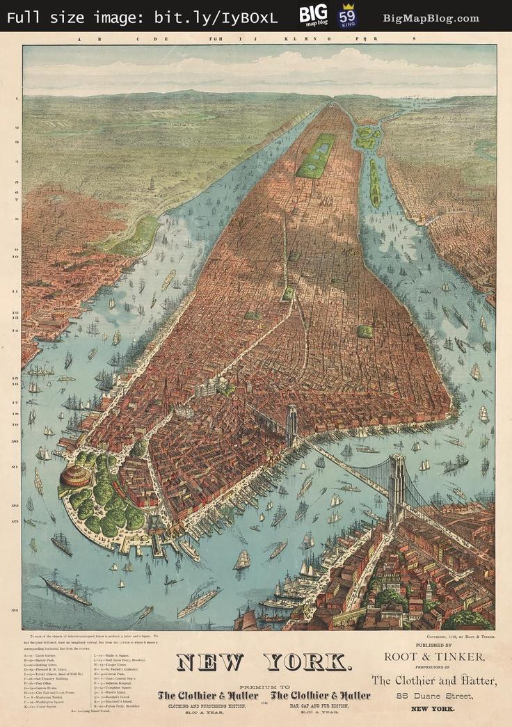 Antique Map of New York 1879 Birdu0027s
