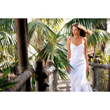 Solid Deby White Long Dress by Vix