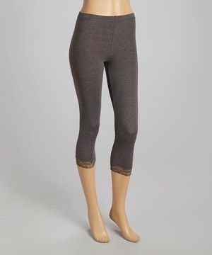 Another great find on #zulily! Charcoal Lace Capri Leggings - Women by Sweet Girl #zulilyfinds