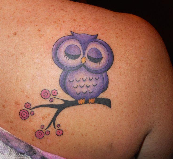 Cute Girly Owl Tattoo.