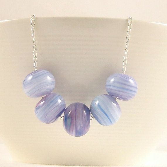 Short Lilac Necklace Glass Beaded Necklace Artisan by jocaledesign