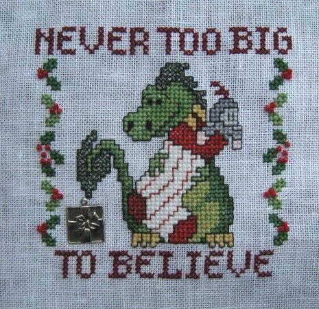 Ornament SAL - Never Too Big to Believe, dragon cross stitch using Kreinik Braid.