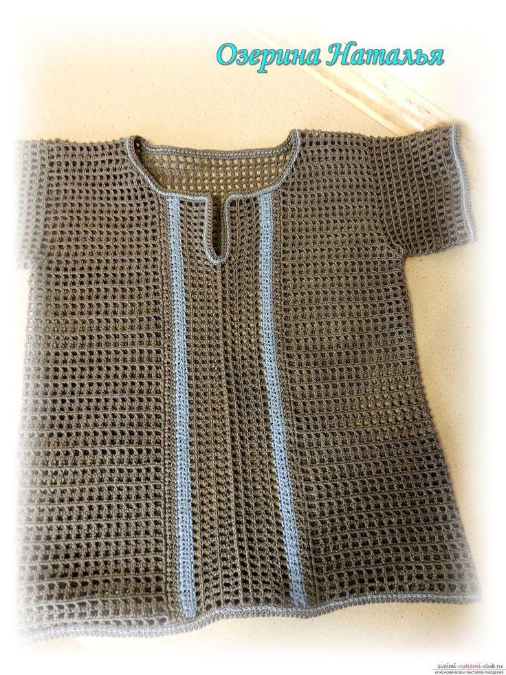 Этот мастер-класс научит как вязать крючком детскую одежду - рубашку филейной сеткой. Фото №18