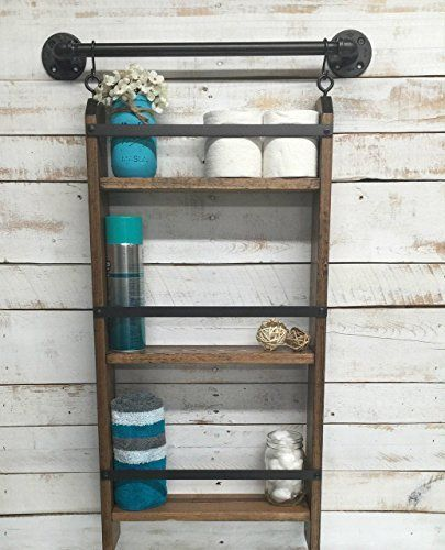 Rustic farmhouse bathroom decor : Best ideas about bathroom ladder on