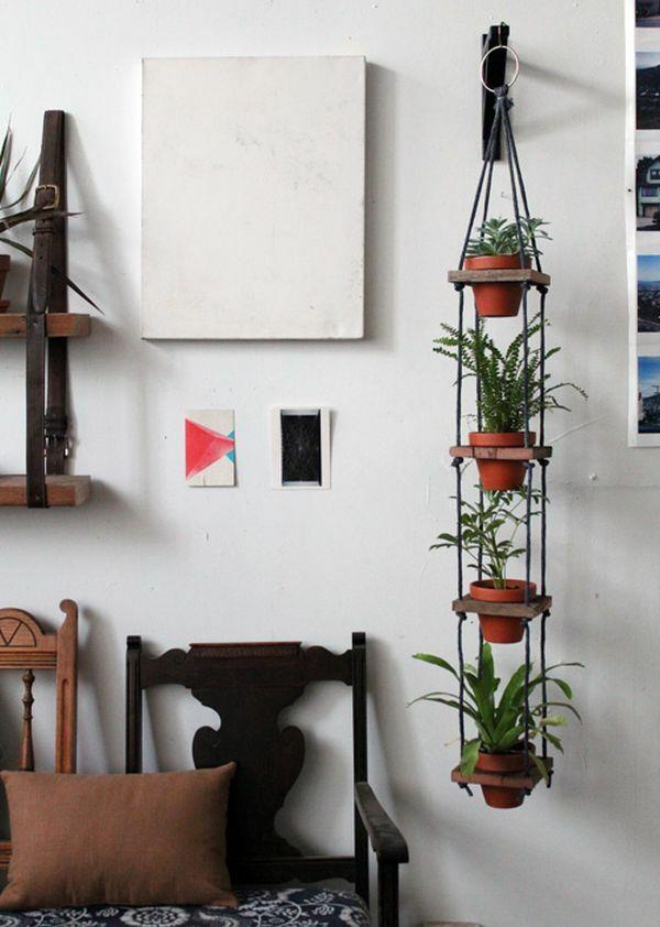 hängende zimmerpflanzen wandgestaltung ideen