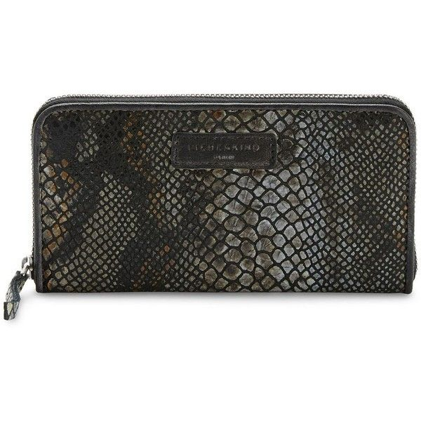 Liebeskind Snake-Embossed Leather Zip-Around Wallet ($70) ❤ liked on Polyvore featuring bags, wallets, liebeskind wallet, zip-around wallets, 100 leather wallet, leather wallets and embossed wallet