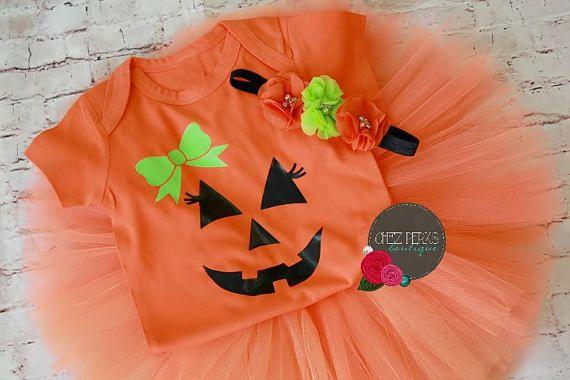Tutú del bebé niña calabaza traje traje de Halloween 1 tutu