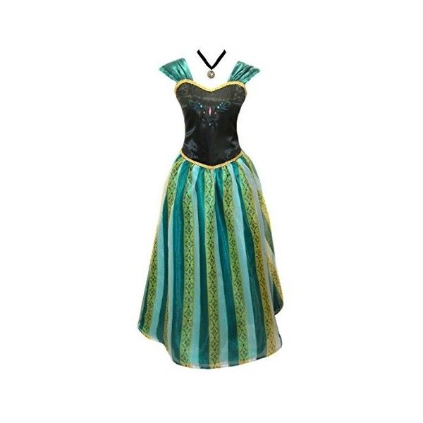 American Vogue ADULT WOMEN FROZEN ANNA Elsa Coronation Dress Costume:... ($96) ❤ liked on Polyvore featuring costumes, lady halloween costumes, adult halloween costumes, disney, american halloween costumes and adult women halloween costumes