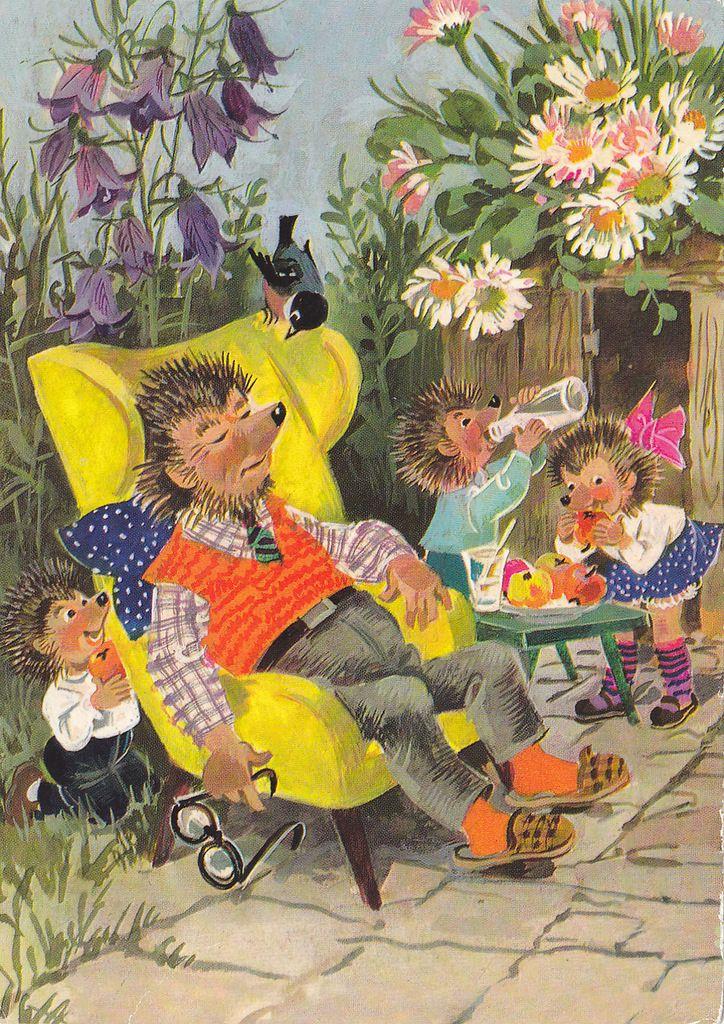 Средняя группа, ежики открытки гдр серии