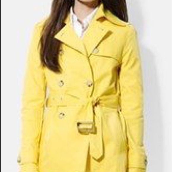 Charter Club Yellow Trench Coat This cute yellow trench will make a great addition to any closet. Please note there are some small spots, (see pics 3 & 4). Charter Club Jackets & Coats