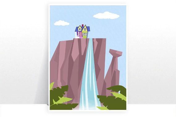 Disney pixar up paradise falls mountain waterfall ellie for Waterfall design etsy