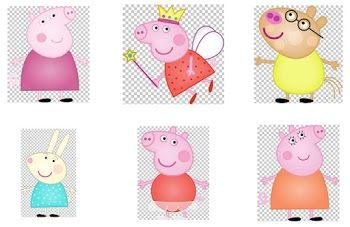 Peppa Pig and her Family Clipart.