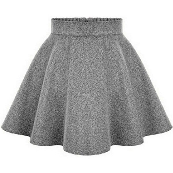Inshine Women Khaki/Grey/Black 3 Colors Woolen High Waist Tutu Skater... (205 DKK) ❤ liked on Polyvore featuring skirts, bottoms, black skater skirt, flared skirt, high-waisted skirts, black skirt and tutu skirts