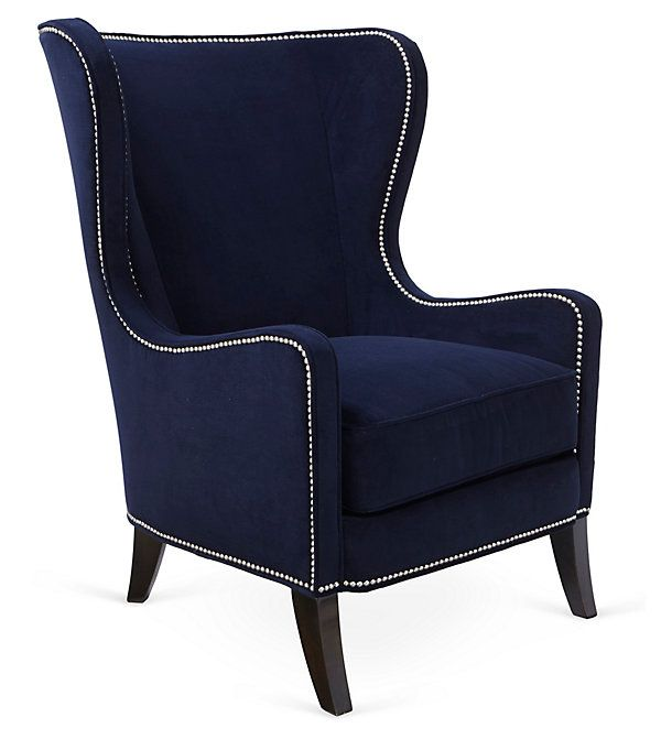 One Kings Lane - Rhythm in Blues - Dempsey Wingback Chair, Navy