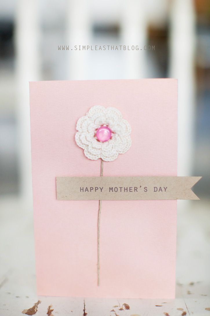 Simple handmade Mother's Day Cards: Cards Ideas, Gifts Ideas, Handmade Mothers, Simple Mothers, Simple Flower, Ideas Mothersday, Mothers Day Cards, Mother'S Day, Simple Handmade