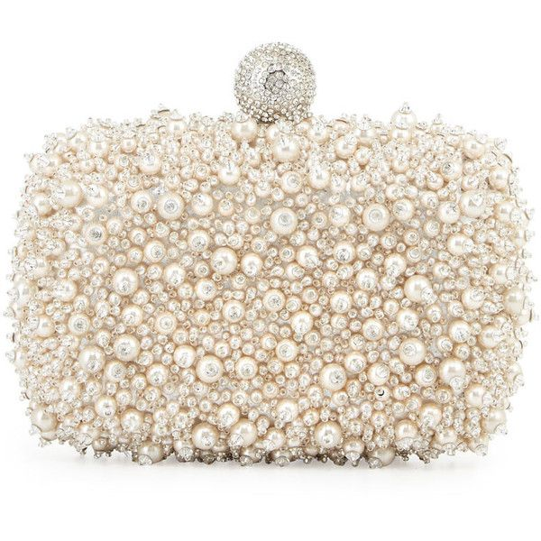 Roger Vivier Caviar Embellished Minaudiere ($5,070) ❤ liked on Polyvore featuring bags, handbags, clutches, pearl, metallic handbags, beaded purse, white handbags, rhinestone studded handbags and rhinestone handbags