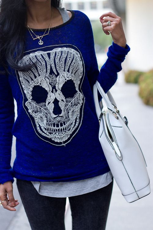 Cobalt skull knit by Spellbound.
