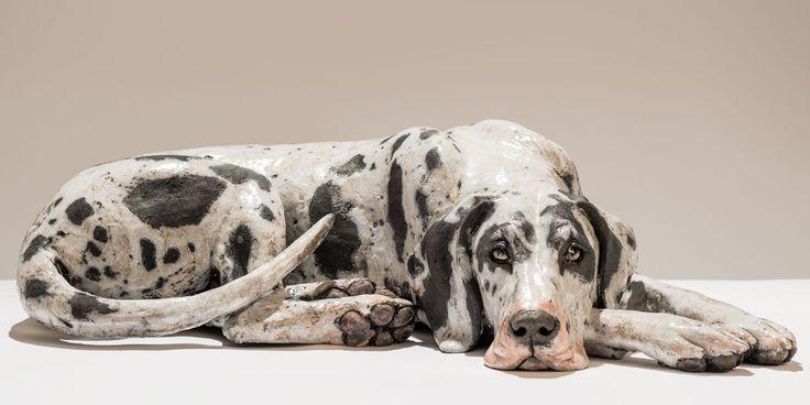 Harlequin Great Dane dog sculpture. www.nickmackmansculpture.co.uk