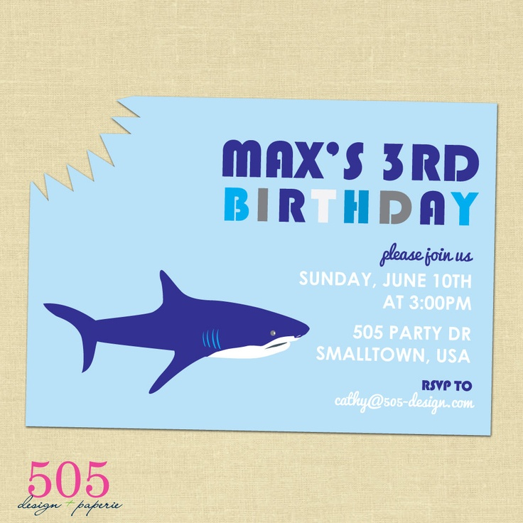 195 best shark party images on pinterest | shark party, birthday, Party invitations