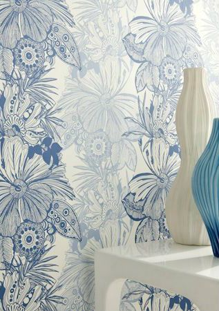 Floral and Botanical Blue Wallpaper