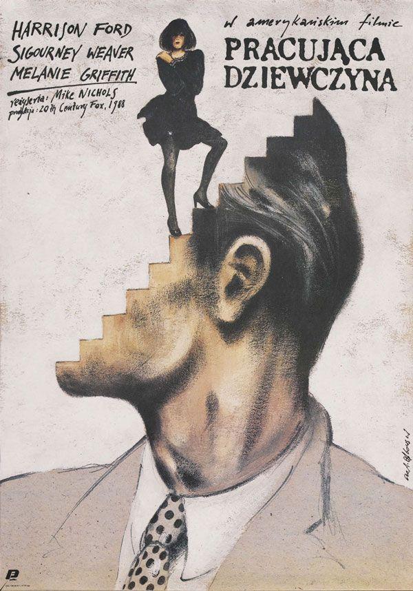 Polish poster for WORKING GIRL (Mike Nichols, USA, 1988) | Artist: Andrjez Pagowski | R.I.P. Mike Nichols (1931-2014)
