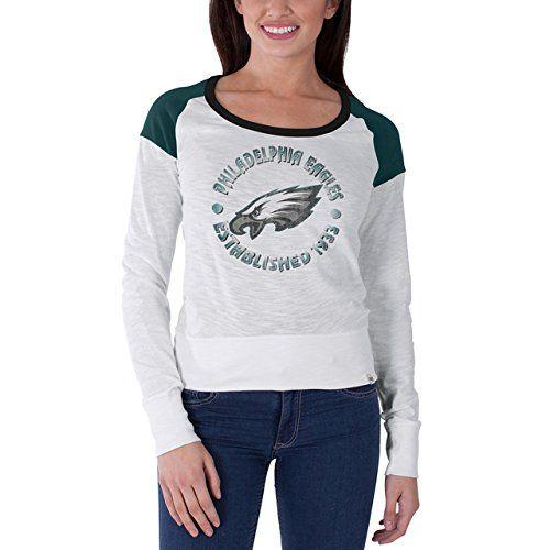 Philadelphia Eagles Women's NFL Long Shot Long Sleeve T-Shirt - White  https://allstarsportsfan.com/product/philadelphia-eagles-womens-nfl-long-shot-long-sleeve-t-shirt-white/  Officially Licensed 47 Brand