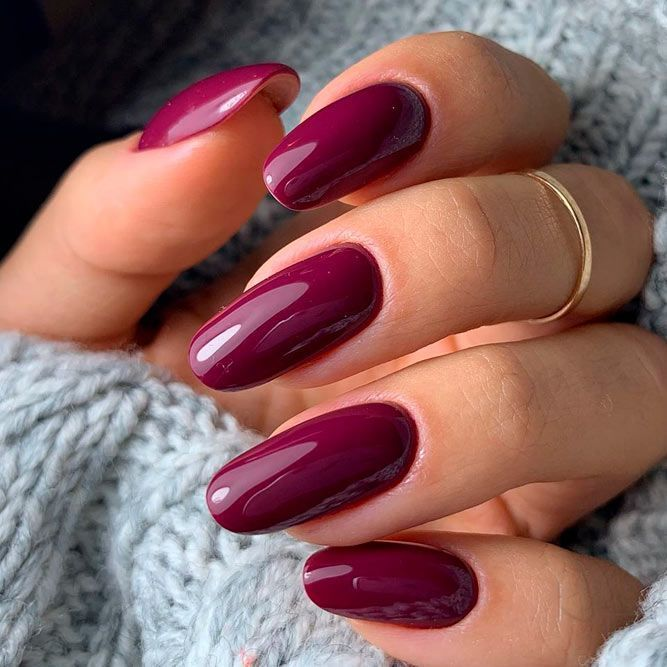 Simple Burgundy Nail Design #simplenails  Burgundy nail art with glitter with rh…