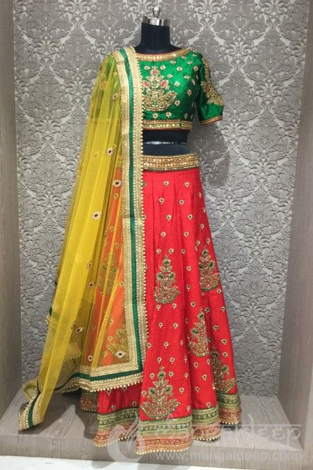 http://www.mangaldeep.co.in/lehengas/charming-look-in-hot-red,-green-and-yellow-designer-partywear-choli-suit-7876 For more information :- Call us @ +919377222211 (Whatsapp Available)