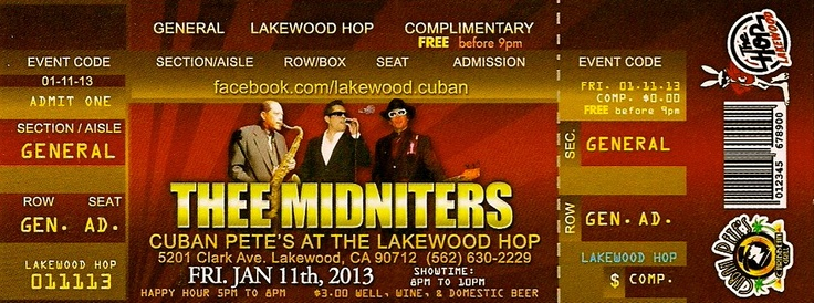 Thee Midniters feat. Greg Esparza Jan 11, 2013 in concert