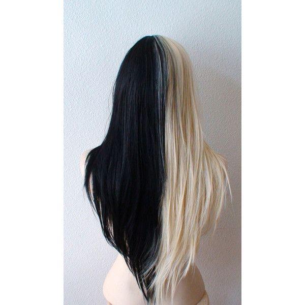 Summer Special // Blonde/Black wig. Half Blonde Half Black wig. Long... ($140) ❤ liked on Polyvore featuring hair
