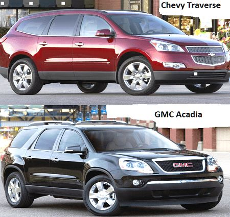 The GMC Acadia and Chevrolet Traverse look different, but they have all the same problems.