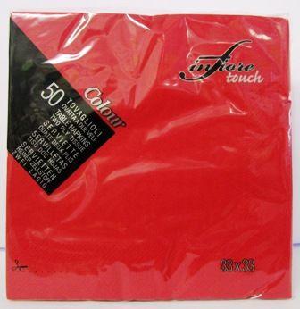 Tovaglioli di colore rosso a 2 veli 33X3 Infiore Touch in confezioni da 50 pezzi della Givi Italia