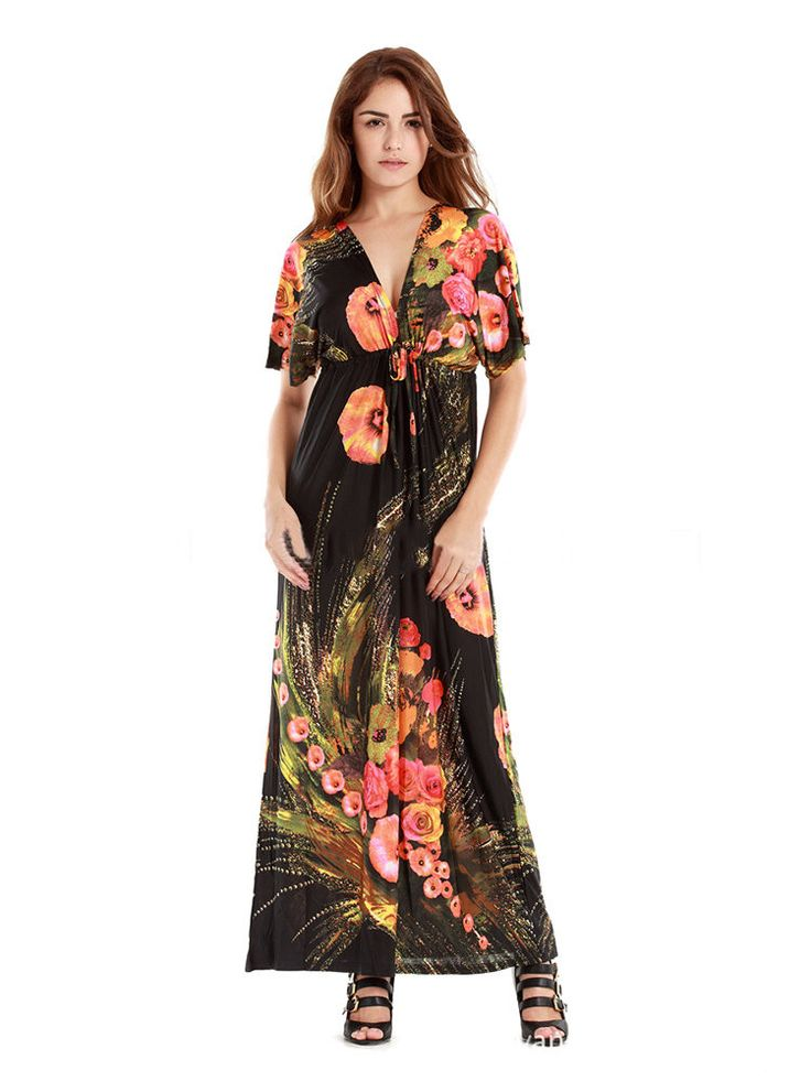 Bohemian Printed V-Neck Drawstring Beach Party Maxi Dress For Women