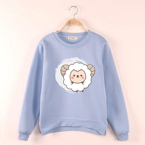 2015 Hàn Quốc phiên bản phim hoạt hình cô gái in T-shirt cộng với nhung áo khoác mới mùa thu và mùa đông sinh viên ngắn trong chiếc áo len dài phía trước