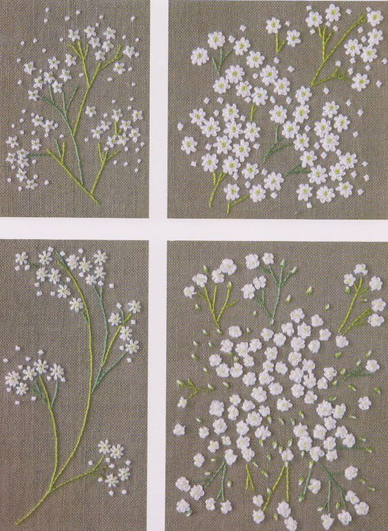 Set of Embroidery pdf e pattern hand stitch garden flower design idea for pillow…