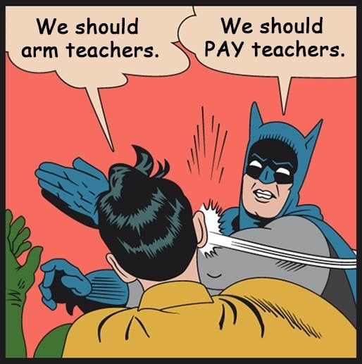 Yes, please! We are looking at the problem wrong. Armed teachers is not the solution. Crazy armed gunmen are- and they should never be able to have access to a gun. Period.