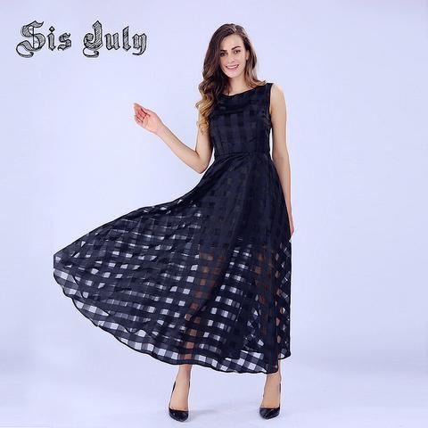 Sisjuly Maxi Summer Plaid Women Dress New Design Long Organza Dress Vestidos De Festa Satin Fashion - Hespirides Gifts