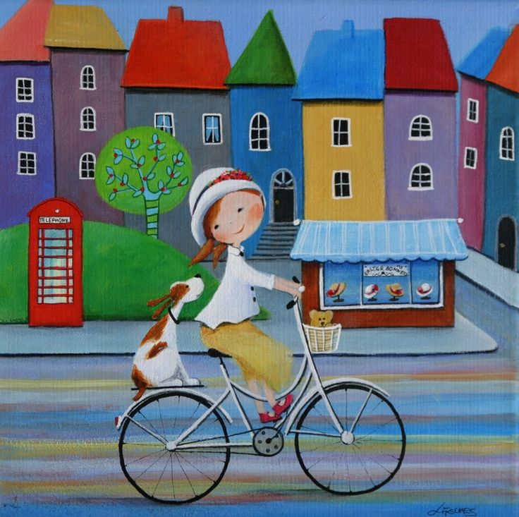 """Saatchi Art Artist: Iwona Lifsches; Acrylic 2013 Painting """"Ulla and Her New Easter Bonnet"""""""