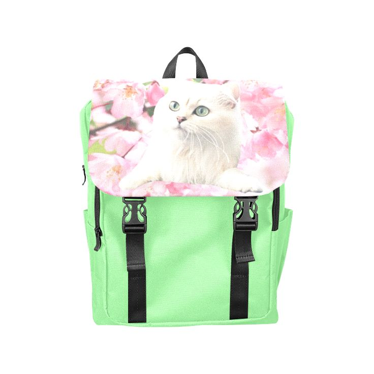 Cat and Flowers Casual Shoulders Backpack. FREE Shipping. #artsadd #lbackpacks #cats