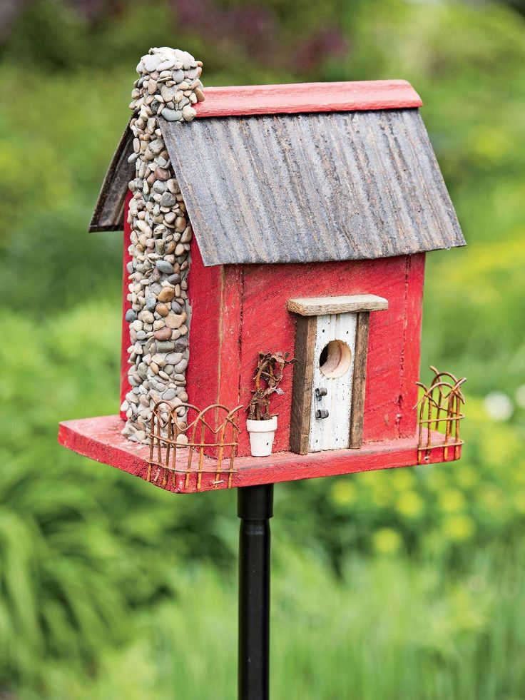 Red Birdhouse with stone chimney Wooden bird houses