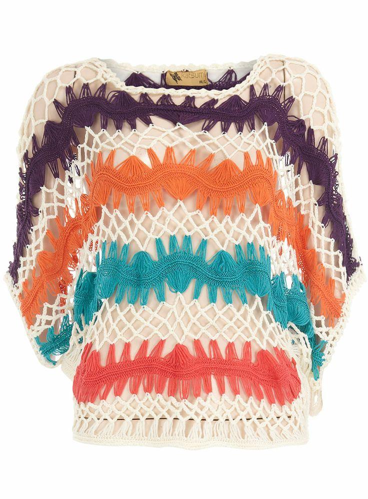 Hairpin Crochet Top. 'Multi Colour Slouchy Jumper' from the Katsumi collection, by Dorothy Perkins.   http://media-cache-ak0.pinimg.com/originals/63/a1/90/63a1900848f07cdad57c2e08f0ec2739.jpg  http://media-cache-ak0.pinimg.com/originals/b4/73/b5/b473b5ad495080bb111a098965ac6c92.jpg