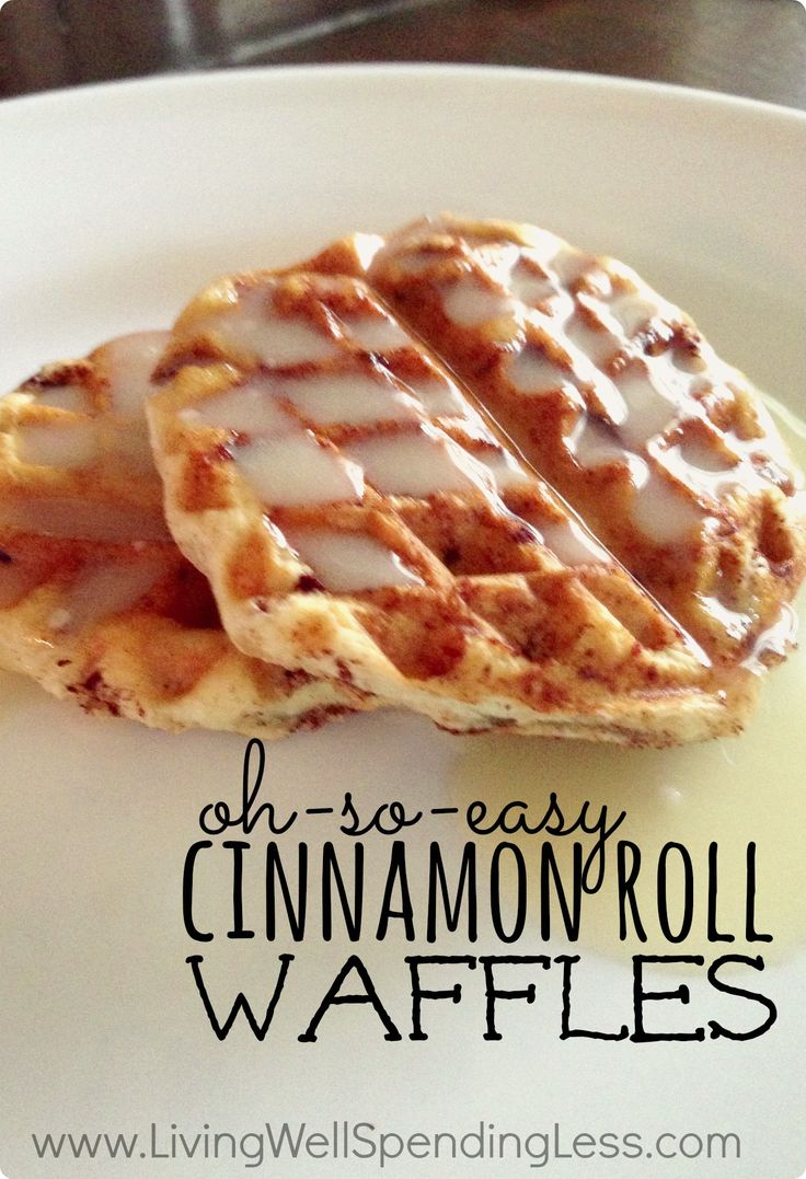 Need a fun & delicious weekend breakfast that you can whip up FAST? These oh-so-easy cinnamon roll waffles are a snap to make using refrigerated rolls, & the creamy maple glaze is absolutely to-die for! #breakfast #recipe