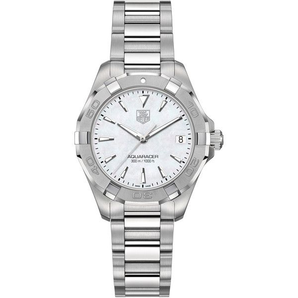Ladies' TAG Heuer Aquaracer Watch ($1,400) ❤ liked on Polyvore featuring jewelry, watches, stainless steel wrist watch, water resistant watches, tag heuer, engraving watches and bezel watches