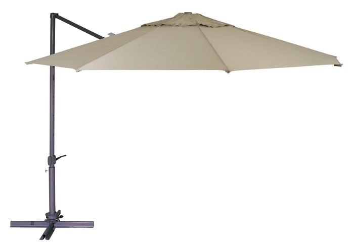 This one is for customers wanting Shade Coverage as a permanent fixture in their Backyards that is very functional & looks stylish without an High Price Point.  Strong Thicker Aluminium Centre Pole that holds the Circular Shade Cover like a Side-Arm.  Strong Alum. Ribs with Great Olefin Fabric in a Range of New Colours.  Foot Pedal releases Umbrella to Rotate 360 Degrees.  Easy Release Push Lever to Drop the Height & Angle of the Shade.  Crank handle to close into a cocoon form.