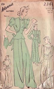 1940s Vintage Sewing Pattern PYJAMAS (107)