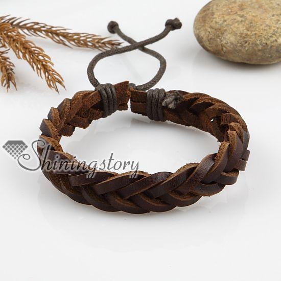 adjustable woven leather bracelets for men and women wholesale