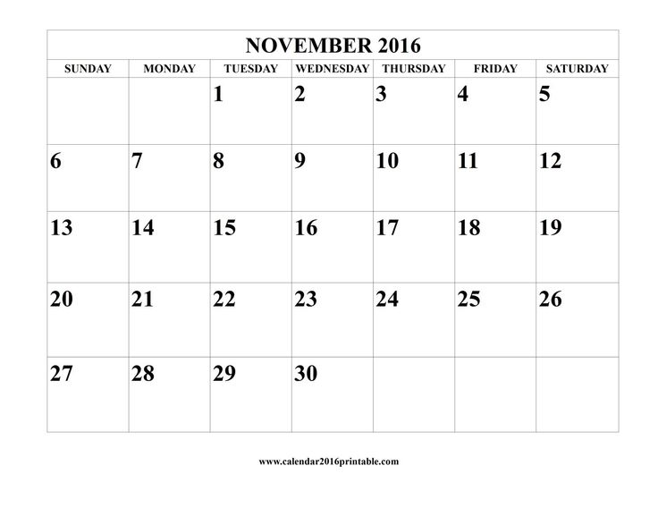 Free november 2016 calendar template that you can download for Usable calendar template