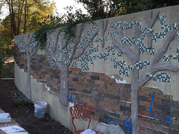 building a mosaic tile retaining wall - Concrete Tile Garden Decor