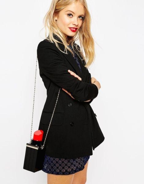 Red Lipstick Clutch Bag / Kırmızı Ruj Şekilli Zincir Askılı Siyah Clutch Bayan Çantası